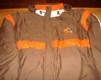 Mens X-Large Cleveland Browns Starter Zip Up Jacket Football NFL Coat Warm