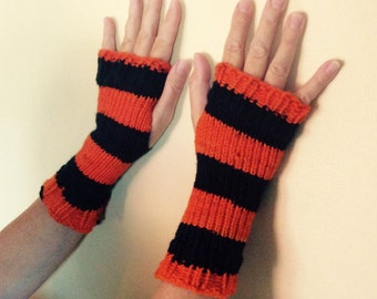 Orange and black fingerless gloves