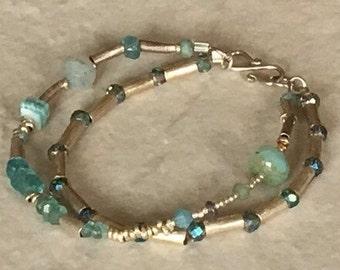All blue green silver bracelet