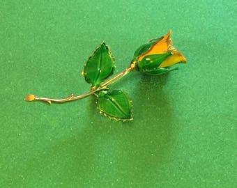Vintage Yellow Rose Enamel Brooch