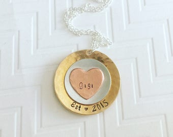 Gigi Necklace - Grandma Necklace - Name Necklace - Hand Stamped Necklace - Personalized Necklace - Gift For Grandma - Mothers Day Gift