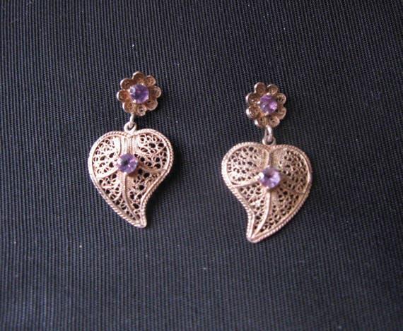 vintage amethyst jewelry earrings, silver filigree earring pierced post, Heart purple stones