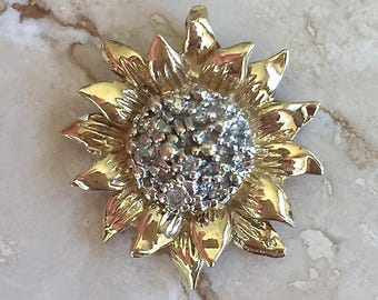 Lovely and Whimsical 10k Diamond cluster Sunflower Pendant 19mm Weighing 2.3 grams