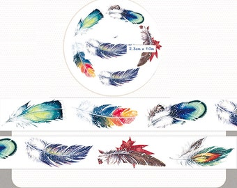 1 Roll of Limited Edition Washi Tape Roll- Colorful Feathers