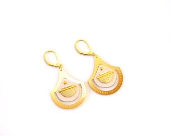 Boucles d'oreilles AJA, or fin et cuir d'agneau, bijou original