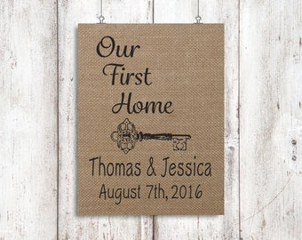 New Home Gift Our First Home Housewarming Gift Address Sign Burlap Home Decor