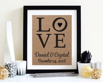 Love With Heart  - Burlap Home Decor - Wedding Gift - Anniversary Gift - Great Valentines Gift
