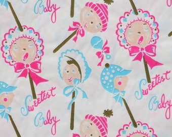 Vintage Sweetest BABY Gift Wrap - Wrapping Paper - BABY LOLLIPOPS - 1940s 1950s