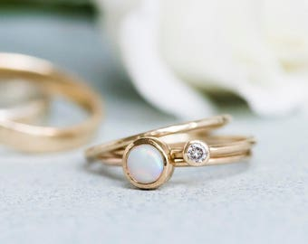 Milky Opal Ring - 9ct Yellow Gold Ring - Stacking Stone Set Ring - Slim 9ct Gold Ring - Opal Ring