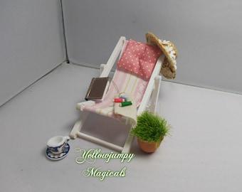 1/12th dollhouse miniature garden  chair/deckchair