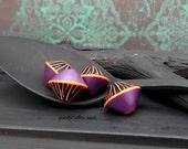 Handmade Polymer Bicone Bead - Purple Black Orange Pinstripe - Bohemian Artisan Safari Bead - 13mm - Pkg. 4
