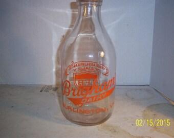 1950 Brigham's Dairy Burlington 10 1/2 inch tall Clear Orange Pyro 1/2 Gallon milk bottle No 1