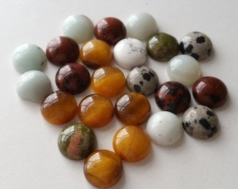 24 genuine stone cabs cabochons 10mm