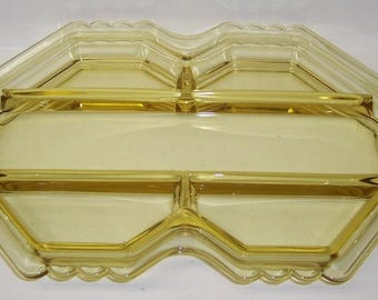 Fostoria Elegant Glass Topaz Yellow MAYFAIR 5 Part RELISH TRAY