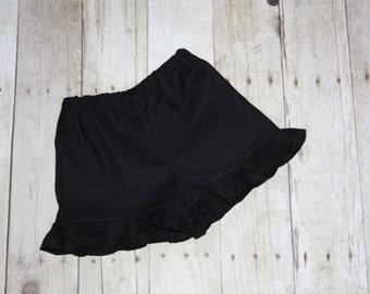 Black ruffle shorts sz 12m, 18m, 24m/2t, 3, 4, 5, 6, 7, 8 Baby/Toddler/Girls