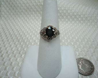 Oval Cut Teal Green Sapphire Ring in Sterling Silver  #1963