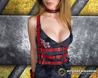 Crimson cell woman leather harness