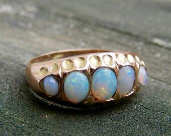 Opal Wedding Ring Australian Opal Ring Opal Wedding Band Rose Gold Victorian Blue Opal Ring Bezel October Birthstone Opal Engagement Ring