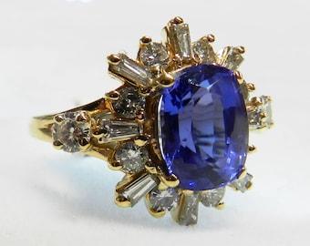 Vintage Engagement Ring Tanzanite Ring Tanzanite Engagement Ring, 2.5 Ct Tanzanite 14K Gold Genuine Diamond halo December Birthday Gift