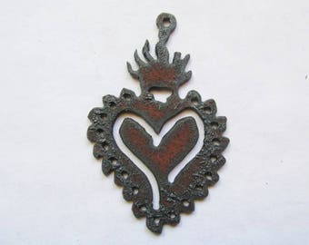 Sacrted Heart with flames rustic rusty recycled metal #RM157