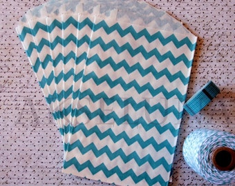 Bags, paper bags blue chevrons (set of 10) - paper gift bags, favor bags made in USA