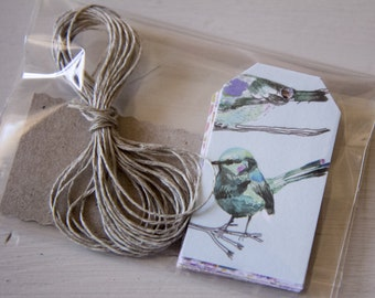 Tags, handmade tags, lot of 16, theme flowers, nature, birds 3,2mm x 5,5mm paper 250g / m2