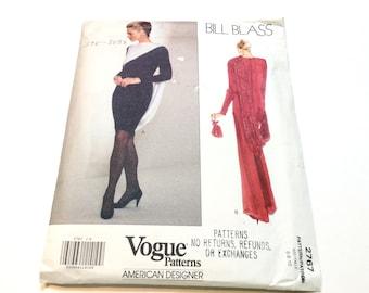 Vogue Evening Gown Pattern, Vogue 2767, Bill Blass Designer Pattern, Draped Evening Gown, Uncut, Size 6 8 10