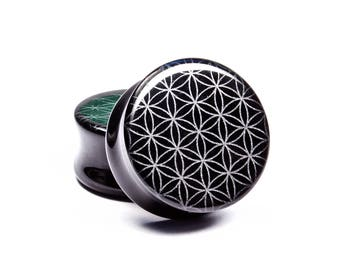"00g (10mm) - 1-1/4"" (32mm) Flower of life Engraved Obsidian Plugs"
