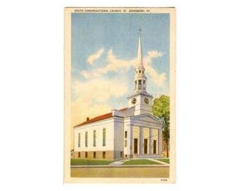 St Johnsbury VT Postcard of South Congregational Church - Vermont Souvenir