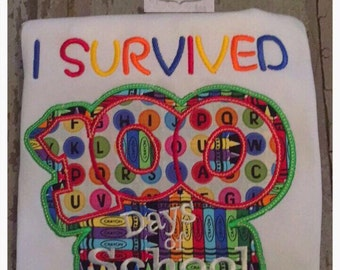 I survived 100 days of school Embroidered Shirt