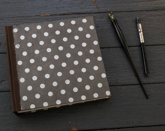 Handmade Book Journal Sketchbook Keepsake Memory Silver Polka Dots