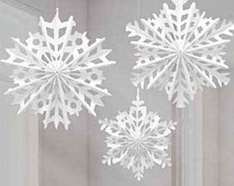 Snowflake hanging decorations, paper fan snowflakes, christmas decorations, winter wonderland, wonder decorations, santas groto, hanging dec