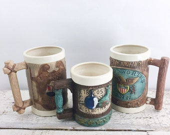 Vintage Set of Three Kitschy Pirate Themed Mugs