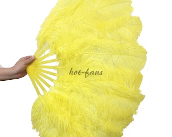 A pair yellow single layer Ostrich Feather Fan Burlesque set of 2 fans with gift box