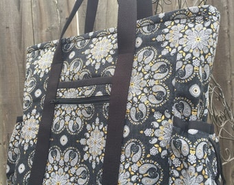 Teacher Tote, Travel Tote, Leather Bottom Large Tote Bag with Pockets, Diaper Bag, Nurse Tote, Professional Tote,Black and Gold Teacher Bag