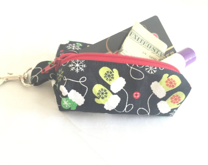 Zippered Keychain Pouch, Coin Purse, Card Holder, Tissue holder, Dog walking bag, Mittens