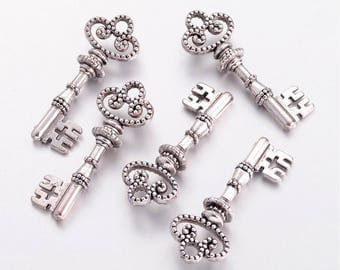 Bulk Skeleton Keys Silver Keys Key Charms Key Pendants Wedding Keys Trinity Keys Silver Key Charms Wholesale Keys Steampunk Keys 50 pieces P