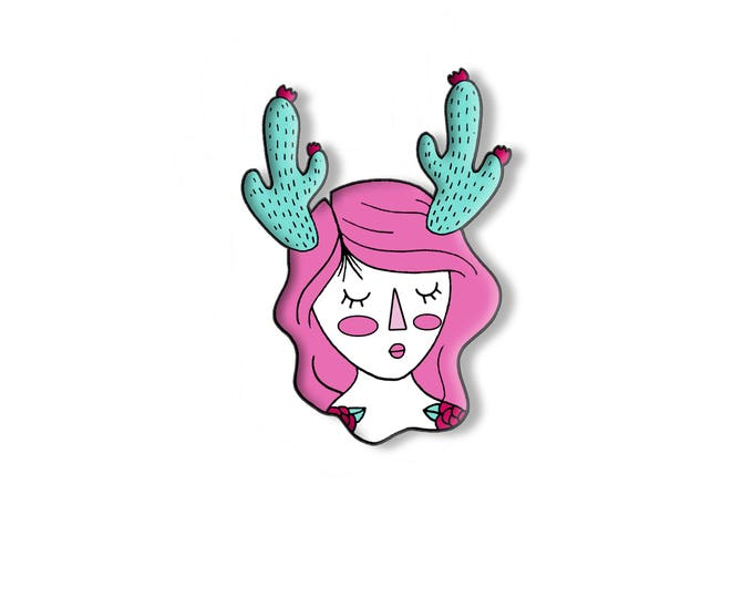 Presale - Cactus Prickly Girl with flowers, Soft enamel pin. Succulent. Pink hair. Tattoos.