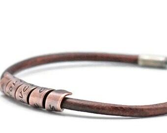 Hand Stamped Spiral Bracelet  Hidden Message Bracelet Custom Bracelet Personalized Name Leather Bracelet Name Bracelet Hand Stamped Jewelry