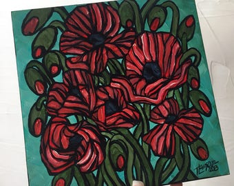 Poppies on Teal original painting