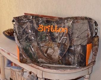 Handmade personalized busy mom's camo diaper bag with orange accents