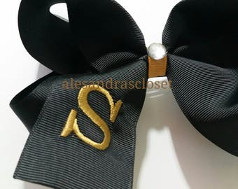 Black And Gold Large Letter S Embroidered Initial Hair Bow New Orleans Saints Girls Toddler Teen Team Hair Bow Sports Everyday Hair Bow