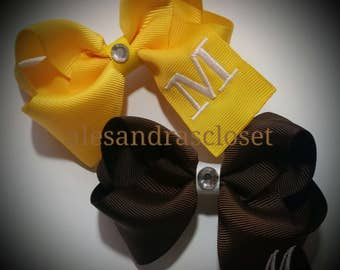 Embroidered Letter M Initial Monogram Hair Bow Girls Toddler Tween Hair Bow Simple Bows Everyday Hair Bows School Spring Summer Hair Bows