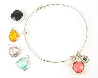 Coral Silver Bracelet, Aqua Bangle Bracelet, Black Silver Dangle Bracelet, Personalized Silver Adjustable Bracelet with Pink Drop |2741