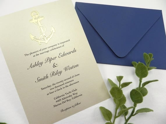 deposit gold nautical anchor wedding invitation set style 091