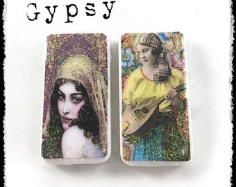 Gypsy Magnet Set, Colorful Magnets, Domino Magnets, Magnet Set, Gift Set, Office Decor, Unique Gift, Kitchen Decor