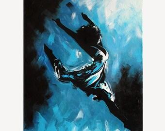 "Dance Ballet Painting ""Stockholm' - STUDIO SALE 30% off - 16x20 Original Acrylic Painting Dancer Modern Ballerina"