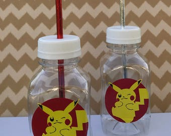 1- Pokemon Pikachu 8 oz or 12 oz Vinyl Cup Plastic Milk Bottle with Lid