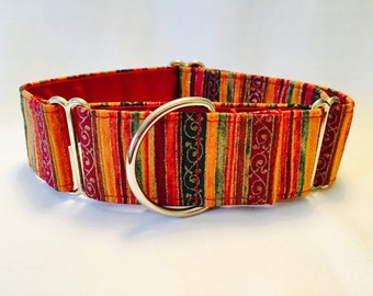 """1.5"""" Holiday Stripe, Green, Gold and Cranberry Sparkle Martingale Collar"""