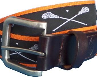 Lacrosse Leather Belt / Leather Belt / Sport Belt / Preppy Webbing Belt Men, Women and Children/White Lacrosse Sticks on Black with Orange